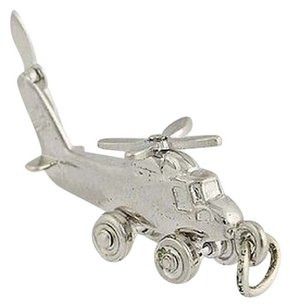 Helicopter Charm - Sterling Silver 925 3d Propellers Move Aviation