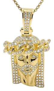 Mens 14k Yellow Gold Jesus Face Piece Genuine Diamond Charm Pendant 1.35ct 1.4