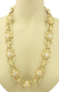 Other Artistic 18k Yellow Gold Diamonds Fancy Heavy Link Necklace 356 Grams