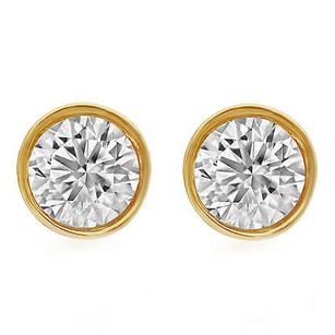 Other 14k Unisex Yellow Gold Round Genuine Diamond Solitaire Bezel Stud Earring 2.0ct