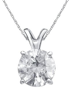 Other 14k White Gold Round Genuine Diamond Solitaire Ladies Pendant Chain Set 0.50ct