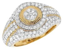 Other Mens 10k Yellow Gold Genuine Diamond Dome Starburst Pinky Ring 16mm 2.0ct