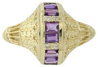 Other Amethyst Diamond Ring - 18k Yellow Gold Three-stone With Accents .38ctw