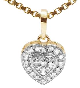 Other 10k Yellow Gold Ladies Real Diamond Dual Heart Love Pendant Box Chain .10ct 13mm
