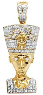 Other 10k Yellow Gold Real Diamond Egyptian Queen Nefertiti Charm Pendant .50ct 1.3
