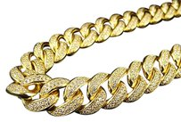 Sterling Silver Miami Cuban Chain Necklace In Yellow Gold Finish 15mm Inches