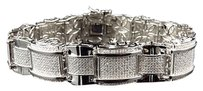 Mens White Gold Finished Dome Bar Link Genuine Diamond Inch Bracelet 2.0ct.