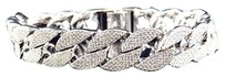 Simulated Diamond Flat Cuban Link Iced Out Bracelet In White Gold Finish 14mm