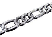 Other Simulated Diamond Iced Out Figaro Style Link Bracelet In White Gold Finish 11mm