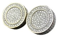 Sterling Silver Icy Yellow Gold Finish Simulated Lab Diamond 3d Round Studs 15mm