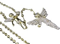 Sterling Silver White Lab Diamond Double Angel Rosary In Yellow Gold Finish 28