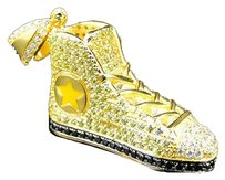 .925 Silver Lab Diamond 3d All Star Sneaker Pendant In Canary Yellow Gold Finish