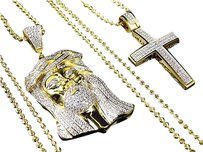 Sterling Silver Lab Diamond Jesus Cross Chain Combo In Yellow Gold Finish 2.0