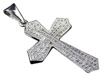 Other Sterling Silver Simulated Diamond Stacked Pave Cross In White Gold Finish 1.75