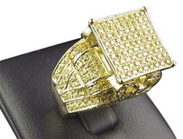 New 925 Silver Lab Diamond Royal Bow Engagement Bridal Ring Canary Gold Finish