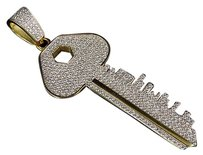 .925 Sterling Silver Mens Key Pendant Yellow Gold With White Lab Diamonds 1.5