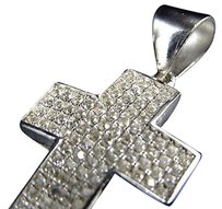 Sterling Silver Simulated Diamond Short Pave Set Cross In White Gold Finish 1