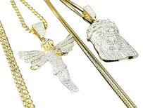 Simulated Diamond Angel And Jesus Pendant Chain Combo Finish In Yellow Gold