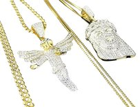 Other Simulated Diamond Angel And Jesus Pendant Chain Combo Finish In Yellow Gold