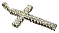 Yellow Gold Over Sterling Silver Lab Diamond Row Cross Piece Pendant Charm 2