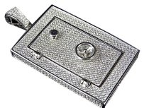 Other Sterling Silver Lab Diamond Safe Pendant Charm In White Gold Finish 2.25