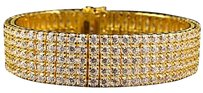 Mens Yellow Gold Sterling Silver Lab Diamonds Row Exquisite Bracelet 16mm 7.5