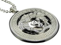Sterling Silver Premium Medusa Simulated Diamond Pendant Finished In White Gold