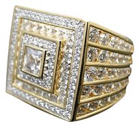 Mens Iced Out 3d Princess Cut Simulated Lab Diamond Pinky Ring