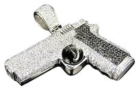 Mens Icy Black White Stainless Steel Lab Diamond Pistol Charm In White Finish