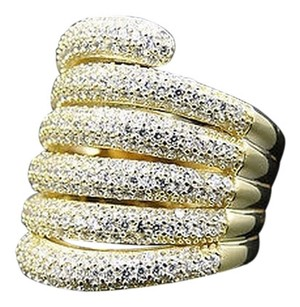 Other Ladies 925 Silver Dafni Lab Diamond Bridal Ring Set In Yellow Gold Finish