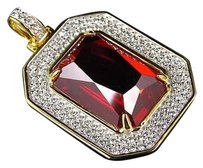 Other Mens Simulated Diamond Red Gemstone Center Pendant In White Gold Finish 1.50