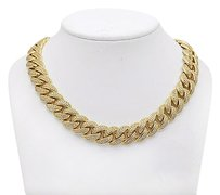 Yellow Gold Finish Miami Cuban 15mm Chain Over Sterling Silver Fully Iced 30