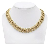 Other Yellow Gold Finish Miami Cuban 15mm Chain Over Sterling Silver Fully Iced 30