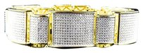 Mens Yellow Gold Over Sterling Silver Simulated Diamond Link Bracelet 8.5