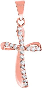 Ladies Sterling Silver Lab Diamond Swirled Cross Pendant Finished In Rose Gold