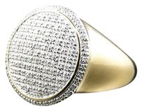 Mens Sterling Silver Genuine Diamond Circle Pinky Ring In Yellow Gold Finish