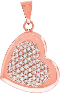 Other Ladies Sterling Silver Lab Diamond Classic Heart Pendant In Rose Gold Finish