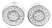 Premium Simulated Diamond Round 3d Sterling Silver Earrings In White Gold Finish