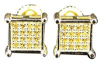 Sterling Silver Lab Diamond Prong Square Stud Earrings In Canary Gold Finish