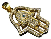 Other Yellow Gold Finish .925 Sterling Silver Lab Diamond Hamsa Evil Eye Charm Pendant