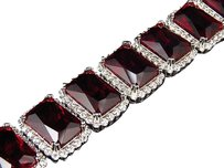 Mens White Gold Finish Cuban Chain Link With Red Gem Stone White Lab Diamonds