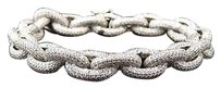 Mens White Finish Sterling Silver Lab Diamond Chain Link Royal Bracelet 9