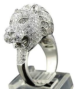 Real Silver Pave White Lab Diamond African Lion Head Ring In White Gold Finish