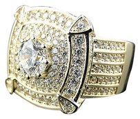 Other Mens Sterling Silver Four Corners Lab Diamond Pinky Ring Finished In Yellow