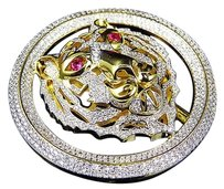 Colored Simulated Diamond Lion Head Belt Buckle In Yellow Gold Finish 2.50