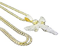 Yellow Gold Sterling Silver Angel Fully Iced Out Simulated Diamond Pendant Combo