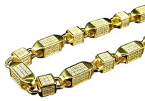Mens Yellow Gold Sterling Silver 3d Lab Diamond Bullet Chain Necklace 6mm 36
