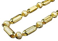 Mens Yellow Gold Sterling Silver 3d Lab Diamond Bullet Chain Necklace 8mm 32