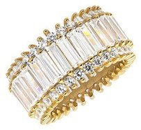 Ladies Yellow Gold Finish Simulated Diamonds Two Row Baguette Engagement Ring