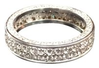 Other Fine Round Diamond Pave 2-row White Gold Band Ring 14kt 1.40ct 4.25